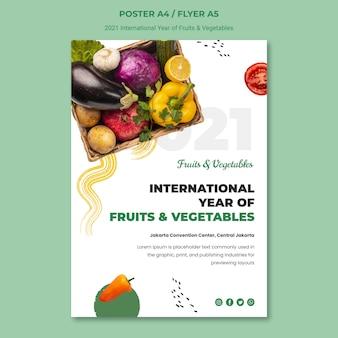 Modelo de pôster do ano internacional de frutas e vegetais