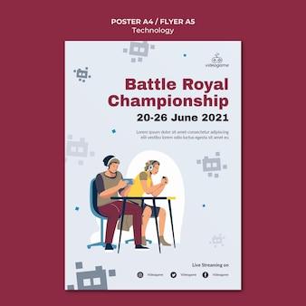 Modelo de pôster do campeonato de jogo