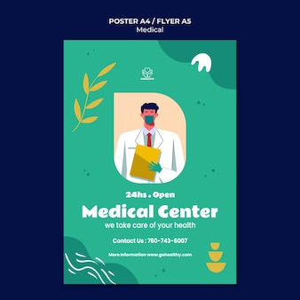 Modelo de pôster do centro médico
