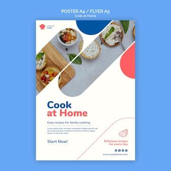 Modelo de pôster do conceito cook at home