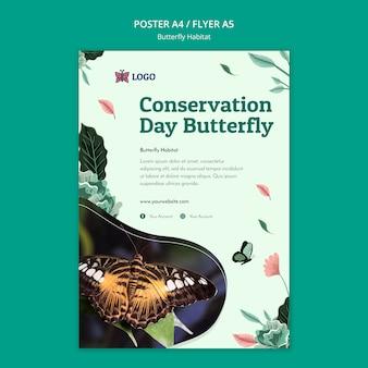 Modelo de pôster do conceito de habitat de borboletas