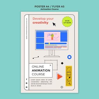 Modelo de pôster do curso de animação