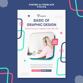 Modelo de pôster do curso de design gráfico
