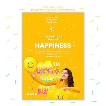 Modelo de pôster do dia da felicidade