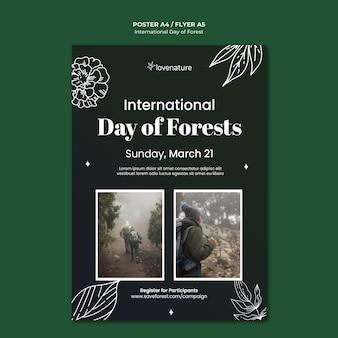 Modelo de pôster do dia da floresta