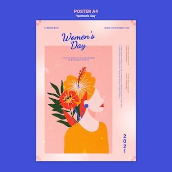 Modelo de pôster do dia da mulher bonito ilustrado