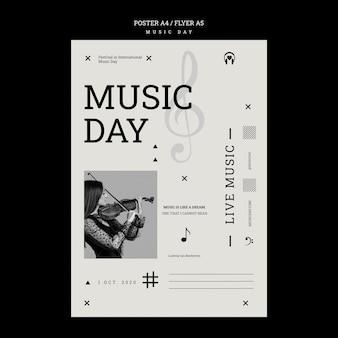 Modelo de pôster do dia da música