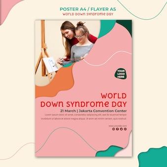 Modelo de pôster do dia da síndrome de down