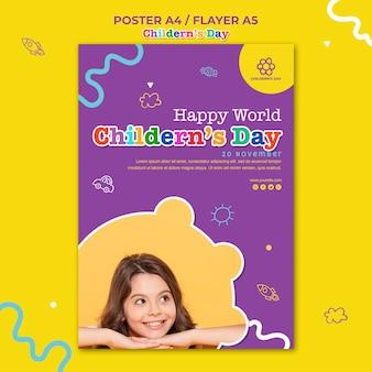 Modelo de pôster do dia das crianças
