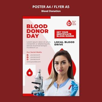 Modelo de pôster do dia do doador de sangue