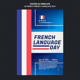 Modelo de pôster do dia em francês
