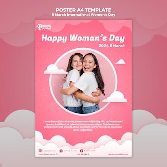 Modelo de pôster do dia internacional da mulher