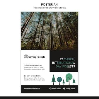 Modelo de pôster do dia internacional das florestas