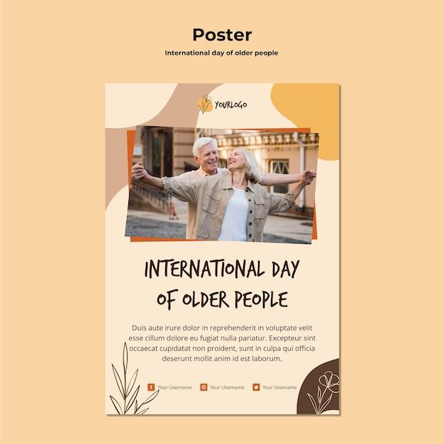 Modelo de pôster do dia internacional dos idosos