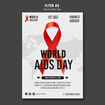 Modelo de pôster do dia mundial da aids com fita vermelha