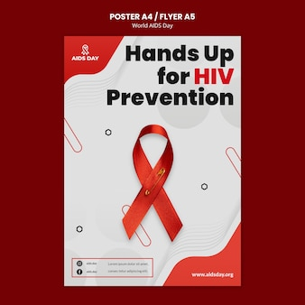 Modelo de pôster do dia mundial da aids