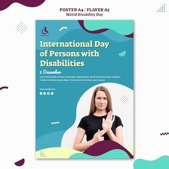 Modelo de pôster do dia mundial da deficiência