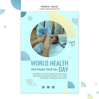 Modelo de pôster do dia mundial da saúde com foto