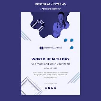 Modelo de pôster do dia mundial da saúde