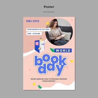 Modelo de pôster do dia mundial do livro