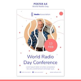 Modelo de pôster do dia mundial do rádio