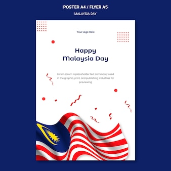 Modelo de pôster do feliz dia da malásia