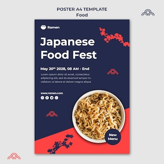 Modelo de pôster do festival de comida japonesa