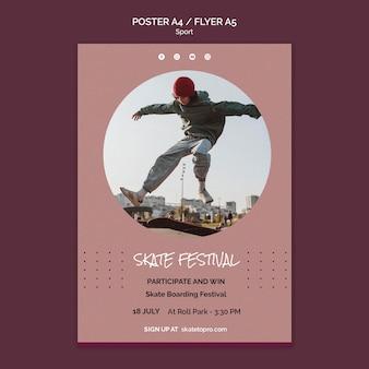 Modelo de pôster do festival de skate