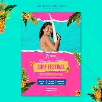 Modelo de pôster do festival de surfe