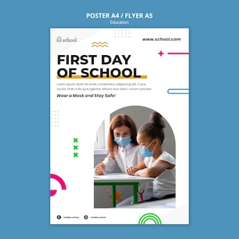 Modelo de pôster do primeiro dia de aula