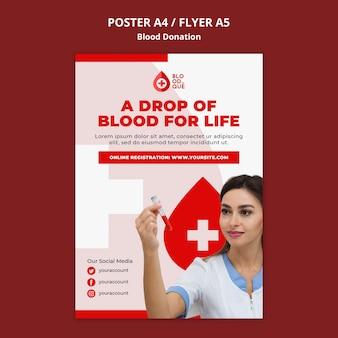 Modelo de pôster doando sangue
