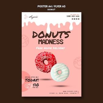 Modelo de pôster donuts madness