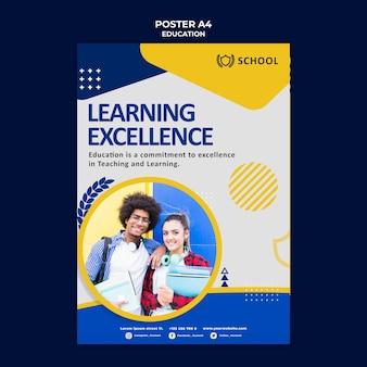 Modelo de pôster educacional com foto