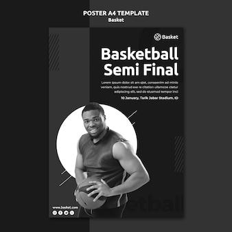 Modelo de pôster em preto e branco com atleta masculino de basquete