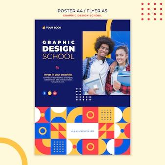 Modelo de pôster escolar de design gráfico