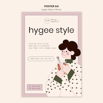 Modelo de pôster estilo hygge