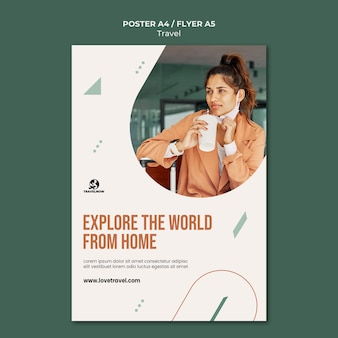 Modelo de pôster explorando o mundo