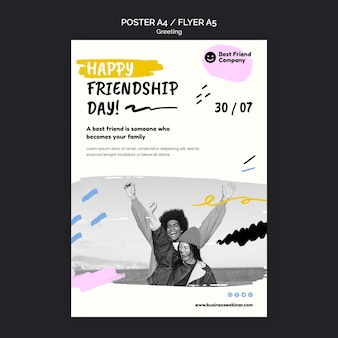 Modelo de pôster feliz do dia da amizade