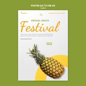 Modelo de pôster festival vibes tropicais