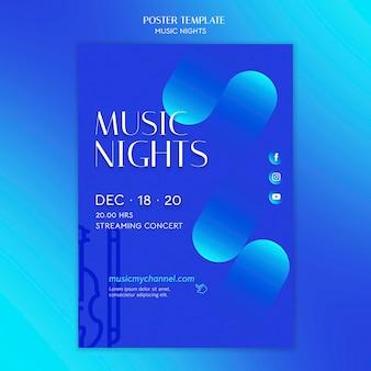 Modelo de pôster gradiente para festival de noites de música