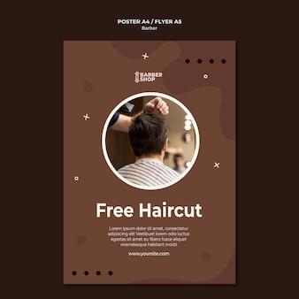 Modelo de pôster gratuito para corte de cabelo na barbearia