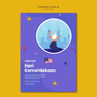 Modelo de pôster hari kemerdekaan da independência da malásia