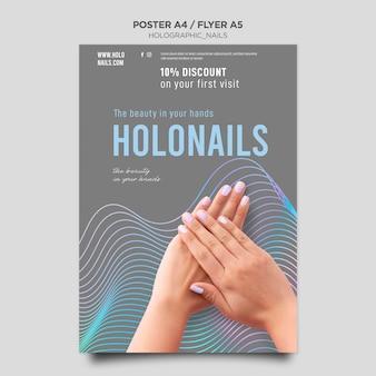 Modelo de pôster holográfico de unhas