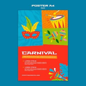 Modelo de pôster ilustrado de carnaval