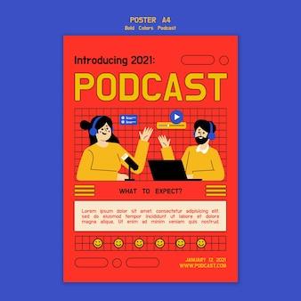 Modelo de pôster ilustrado de podcast