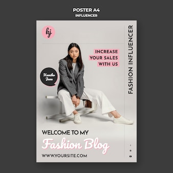 Modelo de pôster influenciador de blog de moda