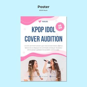 Modelo de pôster k-pop com foto