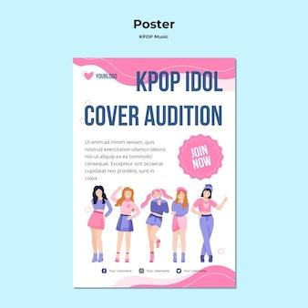 Modelo de pôster k-pop com ilustração