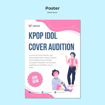 Modelo de pôster k-pop com ilustrações