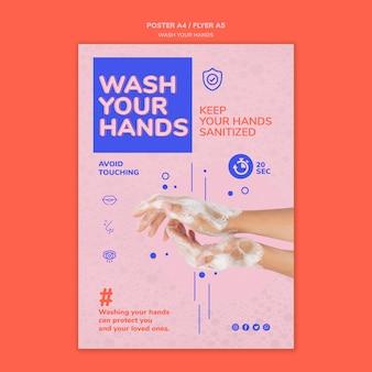 Modelo de pôster lave as mãos